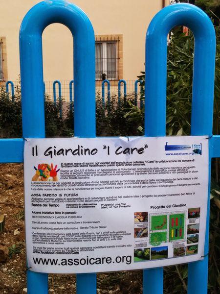 Il Giardino I Care creato dall'Associazione I Care nell'agosto del 2014