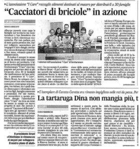 """Associazione """"I Care"""" ONLUS sul Corriere Adriatico col suo progetto """"Cacciatori di Briciole"""""""
