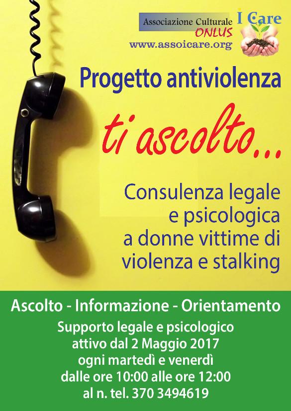 Progetto AntiViolenza dell'associazione di volontariato I Care